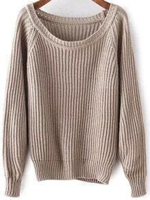 Khaki Round Neck Vintage Knit Sweater
