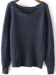 Navy Round Neck Vintage Knit Sweater