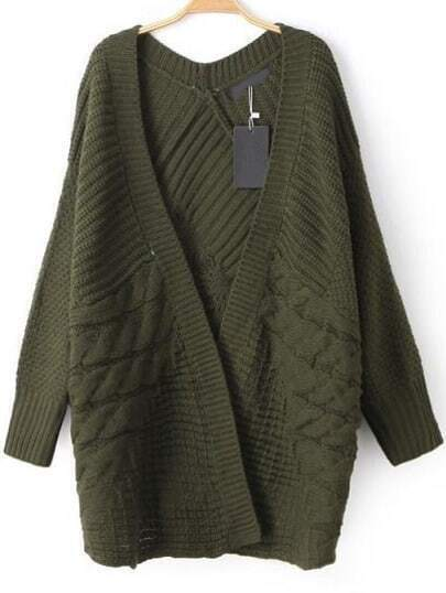 Army Green Open Front Cable Knit Cardigan