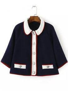 Navy Contrast Collar Buttons Coat