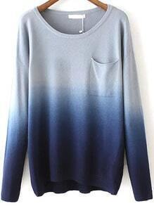 Navy Dip Hem Ombre Pocket Sweater