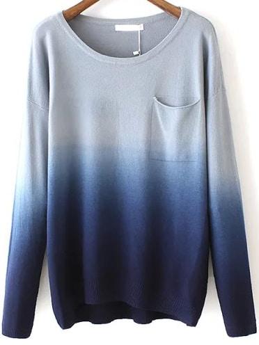 Navy Dip Hem Ombre Pocket Sweater