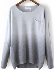 Grey Dip Hem Ombre Pocket Sweater