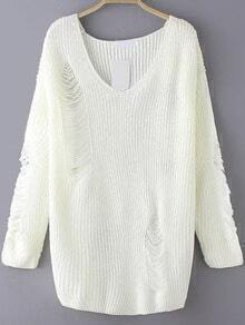 Beige V Neck Ripped Sweater