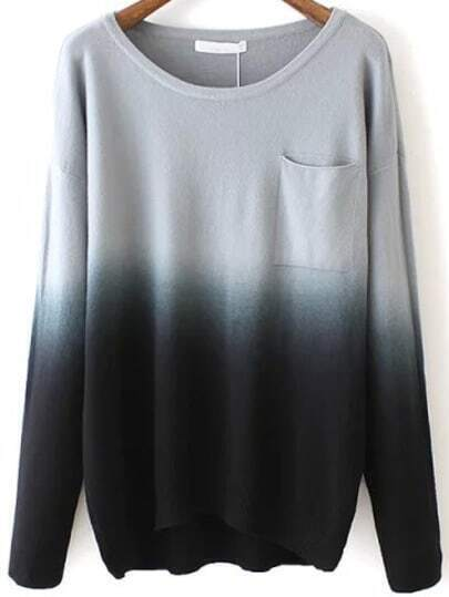 Black Dip Hem Ombre Pocket Sweater