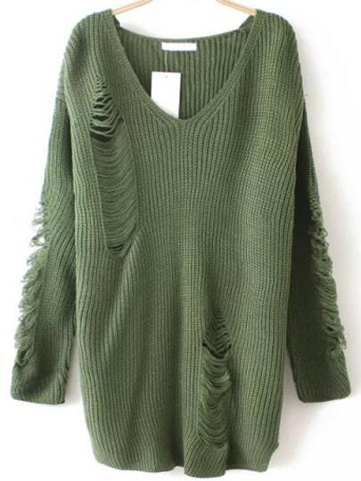 http://www.shein.com/Army-Green-V-Neck-Ripped-Sweater-p-230056-cat-1734.html?aff_id=1285