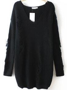 Black V Neck Ripped Sweater