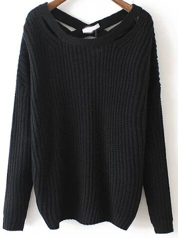 Black Crisscross Back Sweater