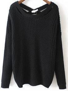 Black Crisscross Back Sweater