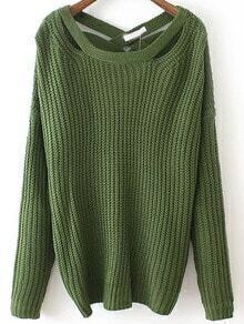 Green Crisscross Back Sweater