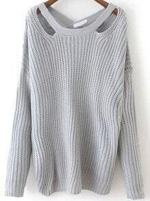 Grey Crisscross Back Sweater