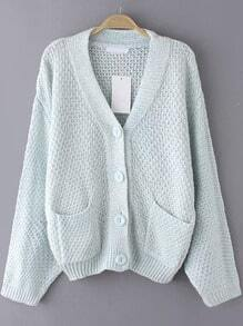 Pale Blue Button-Down Pockets Cardigan