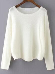 Beige Round Neck Knit Sweater