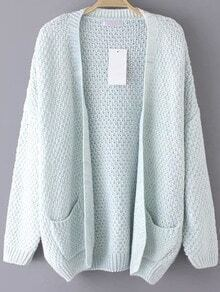 Pale Blue Open Front Pockets Cardigan