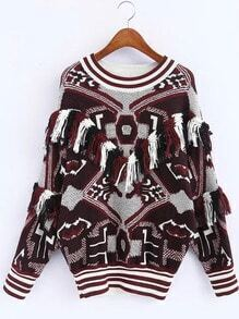 Multicolor Graphic Print Striped Trim Tassel Sweater