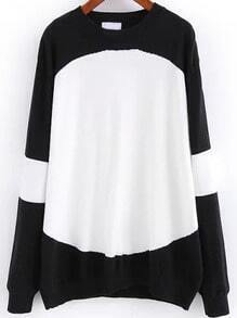 Color-block Round Neck Loose Sweater