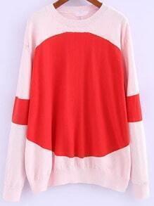 Orange Pink Round Neck Loose Sweater