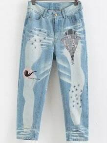 Blue Fire Balloon Embroidered Denim Pant