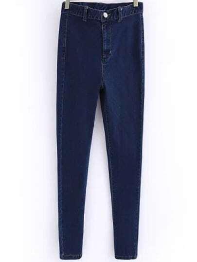 Blue High Waist Slim Denim Pant