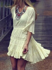 Beige Half Sleeve High Low Drapery Dress