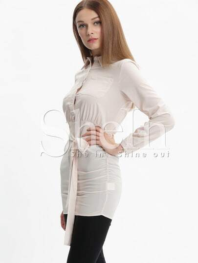 Apricot Chemise Long Sleeve Lapel Wraparound Bodycon Dress