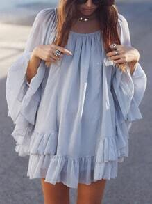 Grey Puffball Lovely Adorable Wrinkle Long Sleeve Ruffle Battenburg Frills layer Babydoll Dress