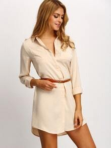 Apricot Long Sleeve Lapel Dress