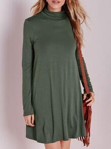 Army Green Long Sleeve Knittet Casual Dress