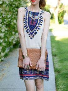 Apricot Sleeveless Vintage Print Dress