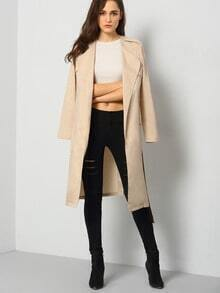 Khaki Long Sleeve Pockets Trench Coat