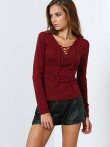 Wine Red Long Sleeve Lace Up T-Shirt