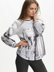 White Long Sleeve NEW YORK CITY Patterns Print Sweatshirt