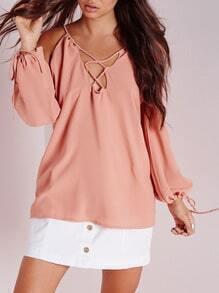 Pink Long Sleeve Cold Shoulder Blouse