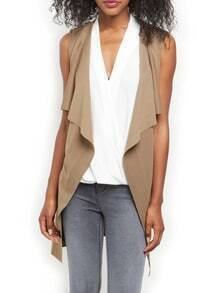 Khaki Sleeveless Asymmetric Vest