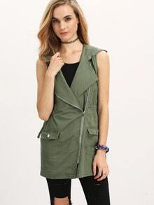 Army Green Hooded Sleeveless Pockets Vest