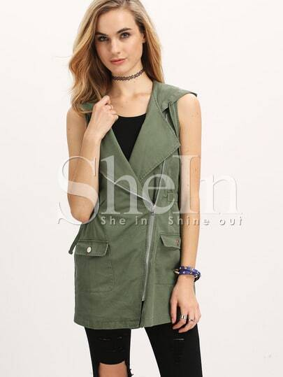 Army Green Hooded Sleeveless Pockets Vest