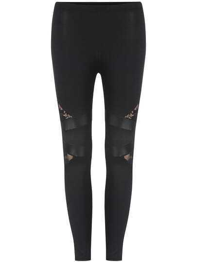 Black Elastic Waist Lace Insert Leggings