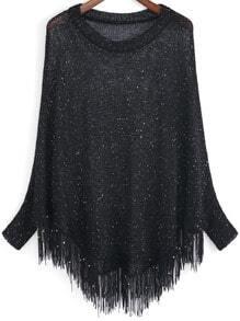 Black Open-Knit Sequined Tassel Sweater