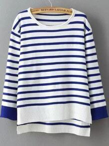 Blue Dip Hem Striped Sweater