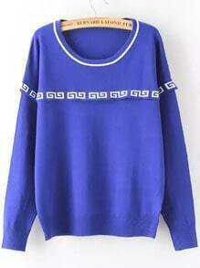 Blue Round Neck Geometric Print Sweater