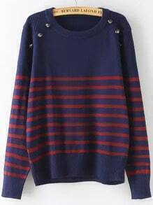 Navy Striped Buttons Sweater