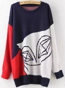 Color-block Abstract Print Oversized Sweater