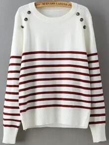 White Red Striped Buttons Sweater
