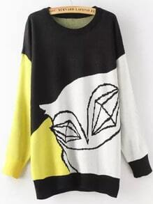 Black Yellow Abstract Print Oversized Sweater