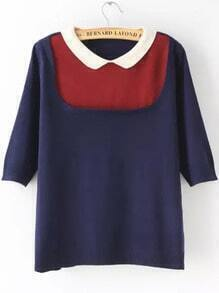 Color-block Doll Collar Knit Sweater
