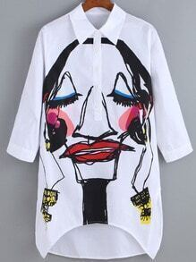 White Dip Hem Graffiti Print Blouse