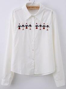 White Lapel Cartton Embroidered Blouse