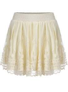 Beige Elastic Waist Note Embroidered Shorts