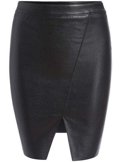 Black Slit Front PU Bodycon Skirt
