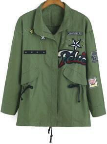 Army Green Drawstring Stars Patch Coat
